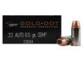 Product detail of Speer Gold Dot Ammunition 32 ACP 60 Grain Jacketed Hollow Point Box of 20