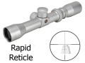 Product detail of Pride Fowler Rapid Reticle Heavy Duty Pistol Scope 1.25-4x 28mm 44 Remington Magnum Rapid Reticle Silver