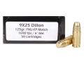 Doubletap Ammunition 9x25mm Dillon 125 Grain Full Metal Jacket Flat Point