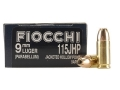 Product detail of Fiocchi Shooting Dynamics Ammunition 9mm Luger 115 Grain Jacketed Hollow Point Box of 50