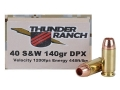 Cor-Bon Thunder Ranch DPX Defensive Ammunition 40 S&amp;W 140 Grain Barnes TAC-XP Hollow Point Lead-Free Box of 20