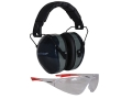 Champion Eyes and Ears Range Safety Kit Combo-Passive Earmuffs Ballistic Glasses (NRR 26dB) Black Muff Wrap Around Eye Protection