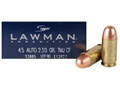 Product detail of Speer Lawman Cleanfire Ammunition 45 ACP 230 Grain Total Metal Jacket Box of 50