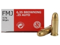 Sellier &amp; Bellot Ammunition 25 ACP 50 Grain Full Metal Jacket Box of 50