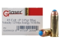 Glaser Blue Safety Slug Ammunition 45 Colt (Long Colt) +P 145 Grain Safety Slug