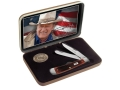 Case John Wayne Commemorative Trapper Folding Knife Clip and Spey Stainless Steel Blades Dark Red Bone Handle with Box