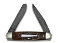 Remington 2015 Bullet Knife The Cliffhanger Folding Pocket Knife 2-Blade Damascus Steel Blades Amber Jig Bone