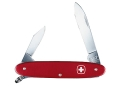 Wenger Swiss Army Patriot Folding Knife 3 Function Swiss Surgical Steel Blades Polymer Scales Red