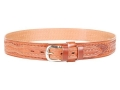 "Bianchi B4 Ranger Belt 1-3/4"" Nickel Plated Brass Buckle Leather Basketweave Tan 34"""