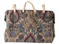 Oklahoma Leather Tapestry Carpet Bag Fabric with Leather Trim