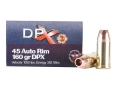 Cor-Bon DPX Ammunition 45 Auto Rim (Not ACP) 160 Grain Barnes XPB Hollow Point Lead-Free Box of 20