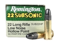Remington Subsonic Ammunition 22 Long Rifle 38 Grain Lead Hollow Point Subsonic Box of 500 (10 Boxes 50)
