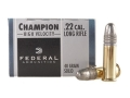 Federal Champion Target Ammunition 22 Long Rifle High Velocity 40 Grain Lead Round Nose Box of 500 (10 Boxes of 50)