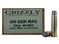 Grizzly Ammunition 460 S&amp;W Magnum 335 Grain Lead Wide Nose Gas Check Box of 20