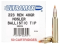 Ultramax Remanufactured Ammunition 223 Remington 40 Grain Nosler Ballistic Tip Box of 50