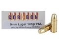 Cor-Bon Performance Match Ammunition 9mm Luger 147 Grain Full Metal Jacket Box of 50