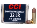 CCI Short Range Green Ammunition 22 Long Rifle 21 Grain Truncated Cone Hollow Point Lead-Free Box of 500 (10 Boxes of 50)