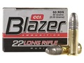 CCI Blazer Ammunition 22 Long Rifle 40 Grain Lead Round Nose Box of 500 (10 Boxes of 50)