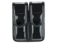 Bianchi 7902 AccuMold Elite Double Magazine Pouch Double Stack 9mm, 40 S&amp;W Hidden Snap Trilaminate High-Gloss Black