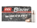 CCI Blazer Clean-Fire Ammunition 9mm Luger 147 Grain Total Metal Jacket Box of 50