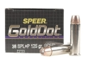 Speer Gold Dot Ammunition 38 Special +P 125 Grain Jacketed Hollow Point Box of 20
