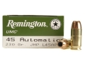 Remington UMC Ammunition 45 ACP 230 Grain Jacketed Hollow Point