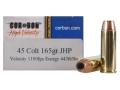 Cor-Bon Self-Defense Ammunition 45 Colt (Long Colt) 165 Grain Jacketed Hollow Point Box of 20