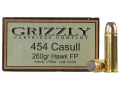 Grizzly Ammunition 454 Casull 260 Grain Hawk Bonded Core Jacketed Flat Point Box of 20