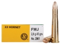 Sellier &amp; Bellot Ammunition 22 Hornet 45 Grain Full Metal Jacket Box of 20