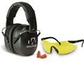 Walker's EXT Folding Range Earmuffs (NRR 34dB) and Shooting Glasses Kit Black