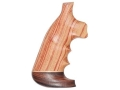 Hogue Fancy Hardwood Conversion Grips with Accent Stripe, Finger Grooves and Contrasting Butt Cap S&amp;W K, L-Frame Round to Square Butt Oversize Tulipwood