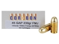 Cor-Bon Performance Match Ammunition 45 GAP 230 Grain Full Metal Jacket Box of 50