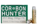 Cor-Bon Hunter Ammunition 357 Magnum 200 Grain Hard Cast Lead Flat Nose Box of 20