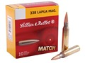 Sellier & Bellot Ammunition 338 Lapua Magnum 250 Grain Sierra MatchKing Hollow Point Boat Tail Box of 10