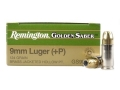 Product detail of Remington Golden Saber Ammunition 9mm Luger +P 124 Grain Brass Jacketed Hollow Point Box of 25