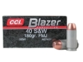 CCI Blazer Ammunition 40 S&amp;W 180 Grain Full Metal Jacket