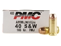 PMC Bronze Ammunition 40 S&W 165 Grain Full Metal Jacket Flat Point Box of 50