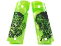 Hogue Grips 1911 Government, Commander Ambidextrous Safety Cut Pearlized Polymer Zombie Green