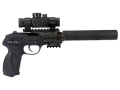 Gamo PT-85 Tactical Air Pistol 177 Caliber Pellet with Blowback Quad Rail Red Dot Sight Light Laser and Compensator Black