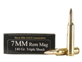 Black Hills Gold Ammunition 7mm Remington Magnum 140 Grain Barnes Triple-Shock X Bullets Hollow Point Flat Base Lead-Free Box of 20