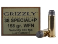 Grizzly Ammunition 38 Special +P 158 Grain Lead Wide Flat Nose Box of 20