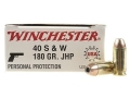 Winchester USA Ammunition 40 S&W 180 Grain Jacketed Hollow Point