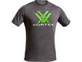 Vortex Men's Toxic Green Logo T-Shirt Short Sleeve Cotton and Polyester Blend Grey