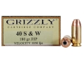 Grizzly Ammunition 40 S&W 180 Grain Jacketed Hollow Point Box of 20