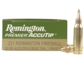 Product detail of Remington Premier Varmint Ammunition 221 Remington Fireball 50 Grain AccuTip Boat Tail Box of 20