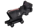 Trijicon ACOG TA31-RMR BAC Rifle Scope 4x 32mm Dual-Illuminated Red Chevron 223 Remington Reticle with 3.25 MOA RMR Red Dot Sight and TA51 Flattop Mount Matte