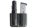 Blade-Tech Single Magazine and Flashlight Pouch Left Hand Double Stack Glock 9mm & 40 S&W Magazine Surefire G2, G3 Lens Down Tek-Lok Kydex Black
