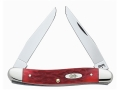 Case Mini Muskrat Folding Pocket Knife 2-Blade Chrome Vanadium Blade Bone Handle Dark Red
