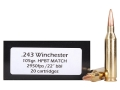 Product detail of Doubletap Ammunition 243 Winchester 105 Grain Nosler Custom Competition Hollow Point Boat Tail Box of 20