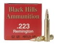 Product detail of Black Hills Ammunition 223 Remington 52 Grain Match Hollow Point Box of 50